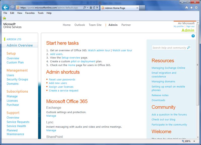 Office365 Admin Portal