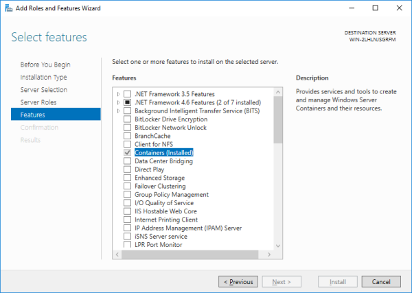 Windows Containers: Add Feature - Airdesk