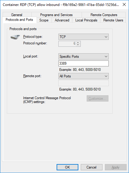 Docker Automatic Firewall Rules RDP