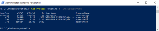 Container Get Process PowerShell UserName