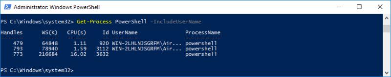 Host Get Process PowerShell UserName